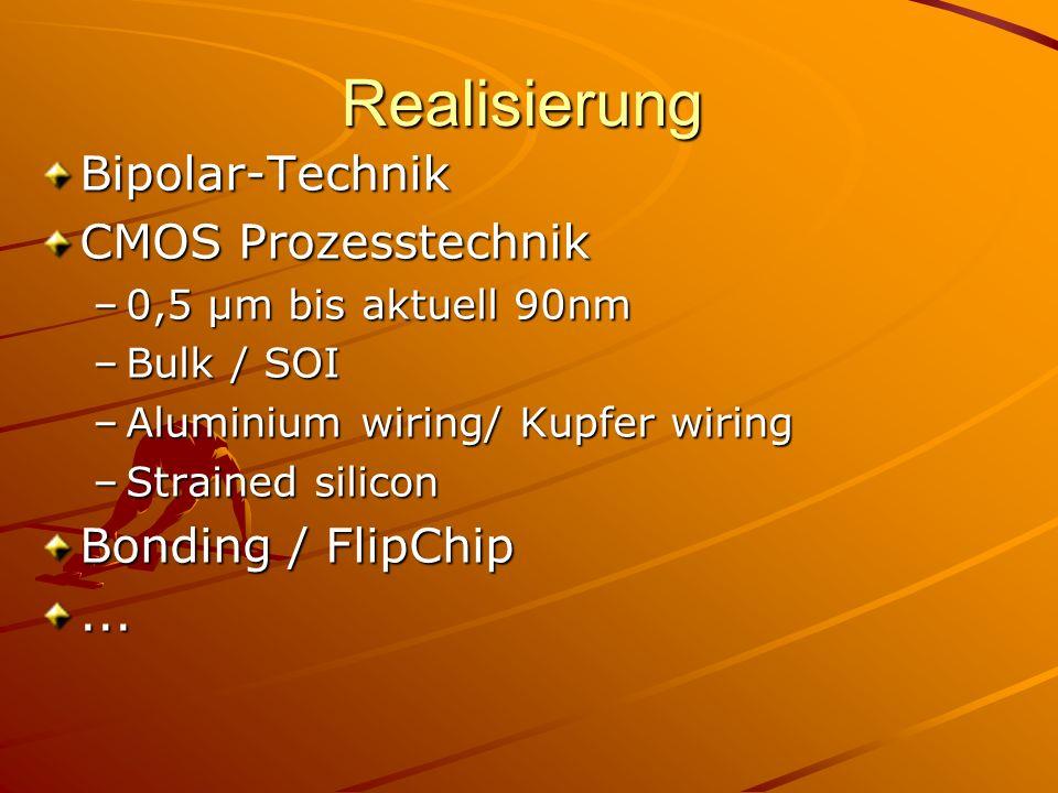 RealisierungBipolar-Technik CMOS Prozesstechnik –0,5 µm bis aktuell 90nm –Bulk / SOI –Aluminium wiring/ Kupfer wiring –Strained silicon Bonding / FlipChip...