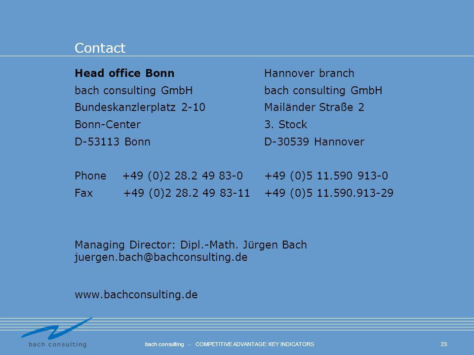 23bach consulting - COMPETITIVE ADVANTAGE: KEY INDICATORS Contact Head office BonnHannover branchbach consulting GmbH Bundeskanzlerplatz 2-10 Mailände