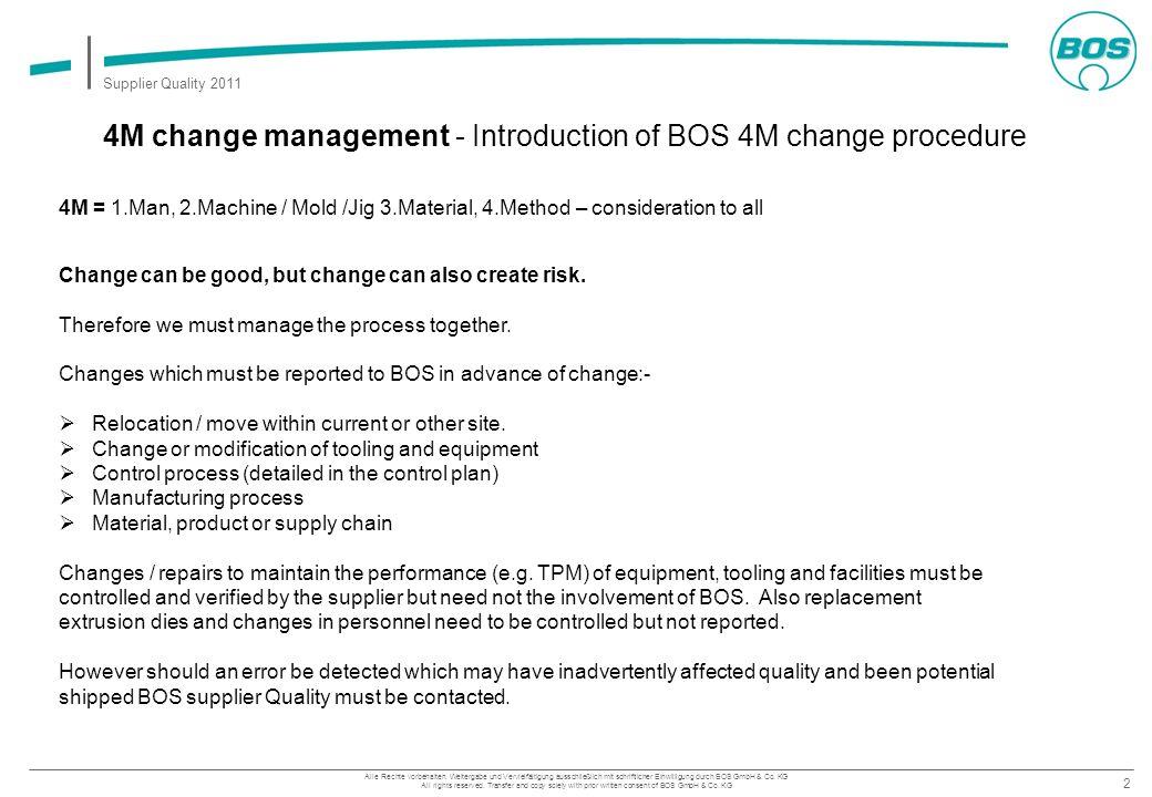 2 Supplier Quality 2011 Alle Rechte vorbehalten. Weitergabe und Vervielfältigung ausschließlich mit schriftlicher Einwilligung durch BOS GmbH & Co. KG