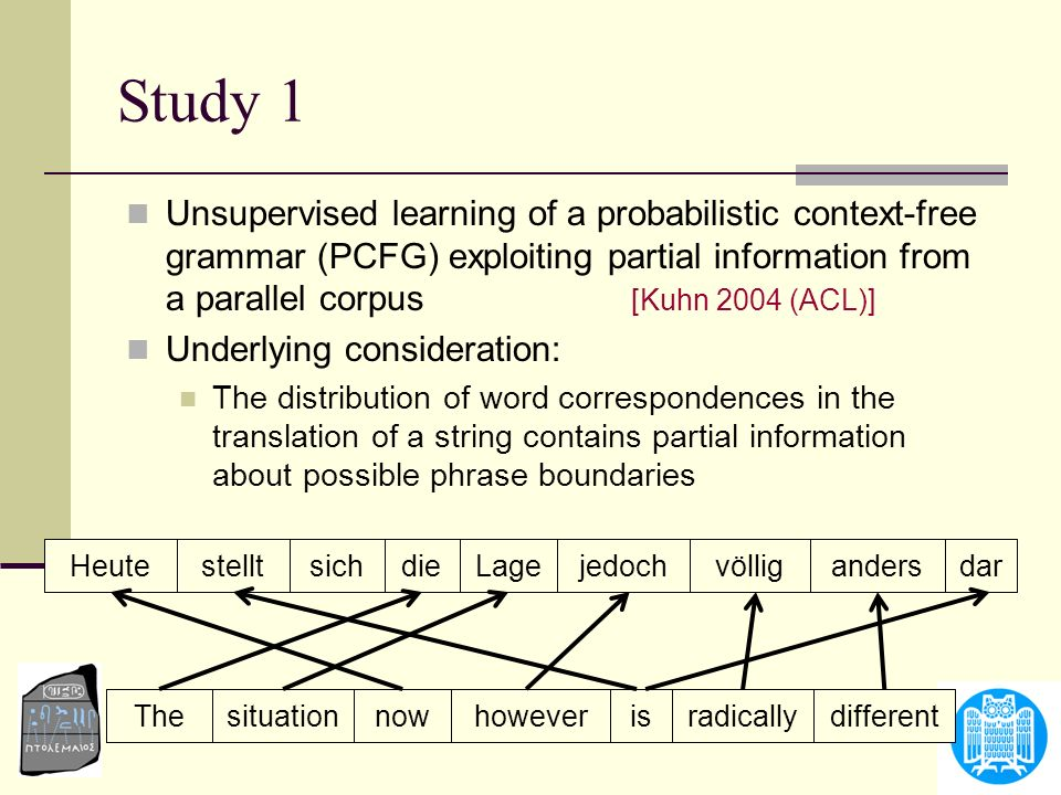 Study 1 Unsupervised learning of a probabilistic context-free grammar (PCFG) exploiting partial information from a parallel corpus [Kuhn 2004 (ACL)] U