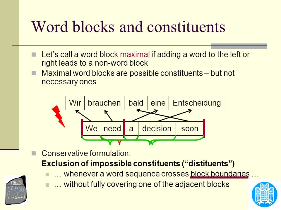 Lets call a word block maximal if adding a word to the left or right leads to a non-word block Maximal word blocks are possible constituents – but not