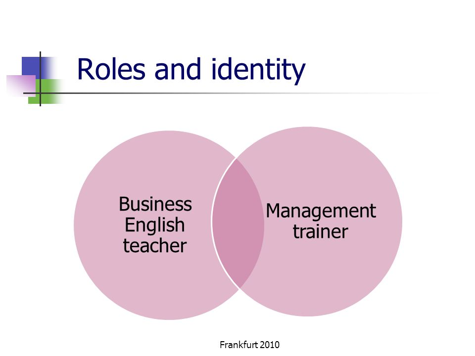 Roles and identity Business English teacher Management trainer Frankfurt 2010