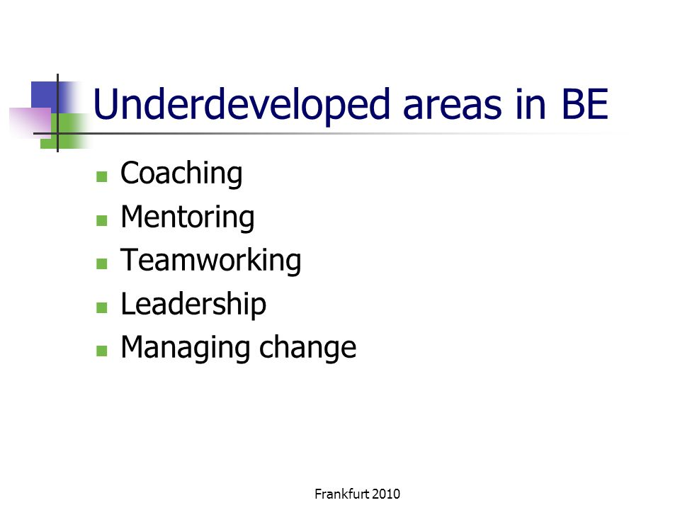 Frankfurt 2010 Underdeveloped areas in BE Coaching Mentoring Teamworking Leadership Managing change