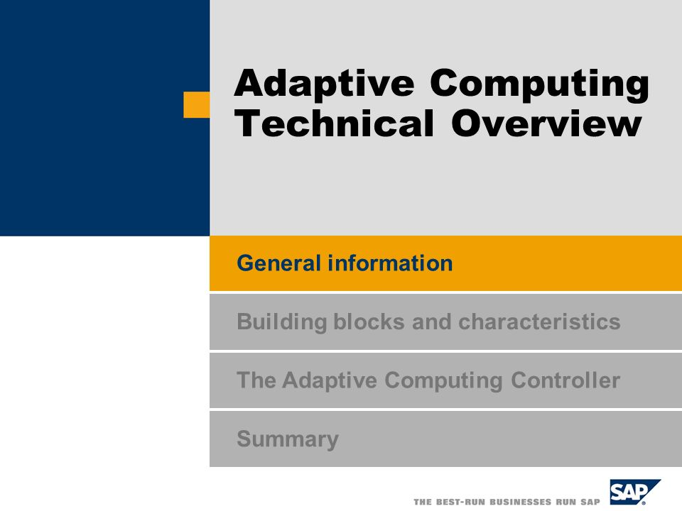 The Adaptive Computing Controller Summary General information Building blocks and characteristics Adaptive Computing Technical Overview
