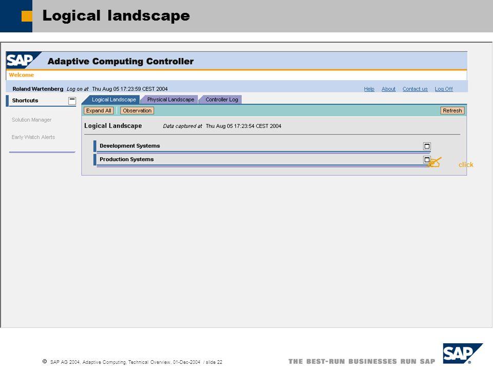 SAP AG 2004, Adaptive Computing, Technical Overview, 01-Dec-2004 / slide 22 Logical landscape click