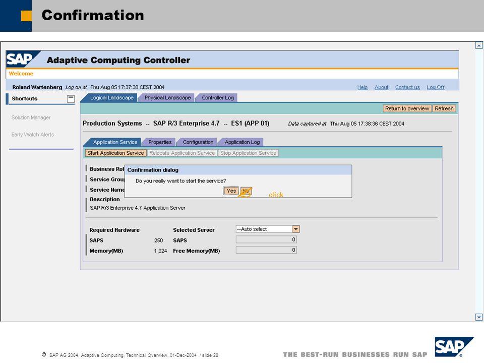 SAP AG 2004, Adaptive Computing, Technical Overview, 01-Dec-2004 / slide 28 Confirmation click