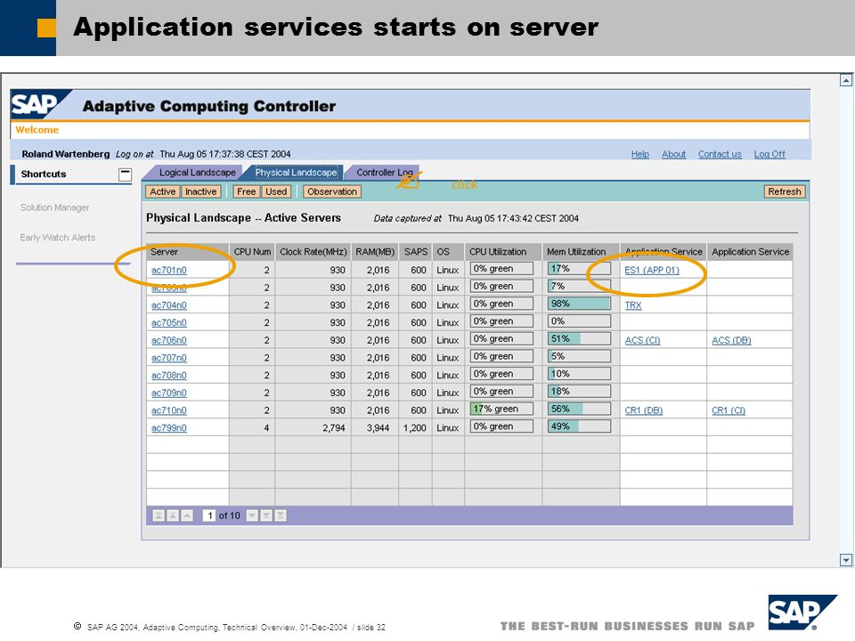 SAP AG 2004, Adaptive Computing, Technical Overview, 01-Dec-2004 / slide 32 Application services starts on server click