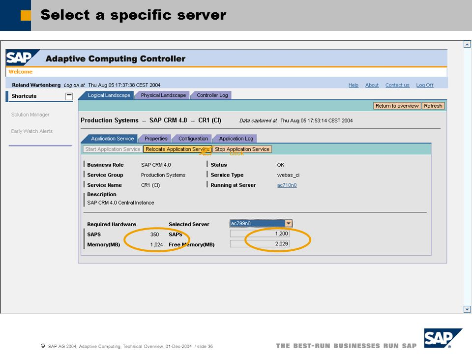 SAP AG 2004, Adaptive Computing, Technical Overview, 01-Dec-2004 / slide 36 Select a specific server click