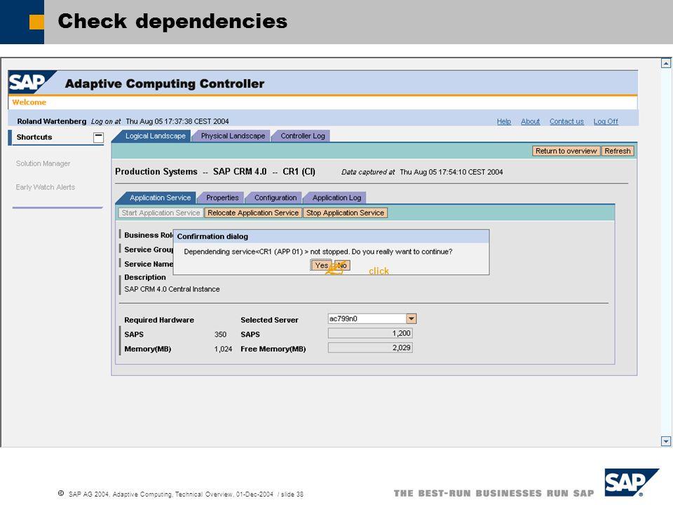 SAP AG 2004, Adaptive Computing, Technical Overview, 01-Dec-2004 / slide 38 Check dependencies click