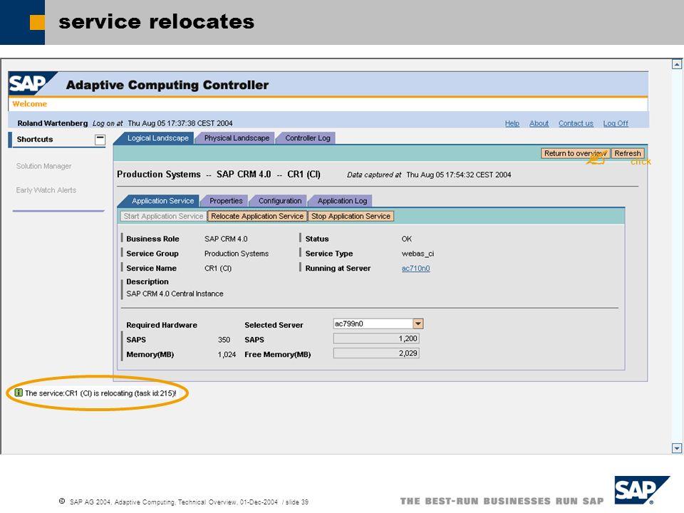 SAP AG 2004, Adaptive Computing, Technical Overview, 01-Dec-2004 / slide 39 service relocates click