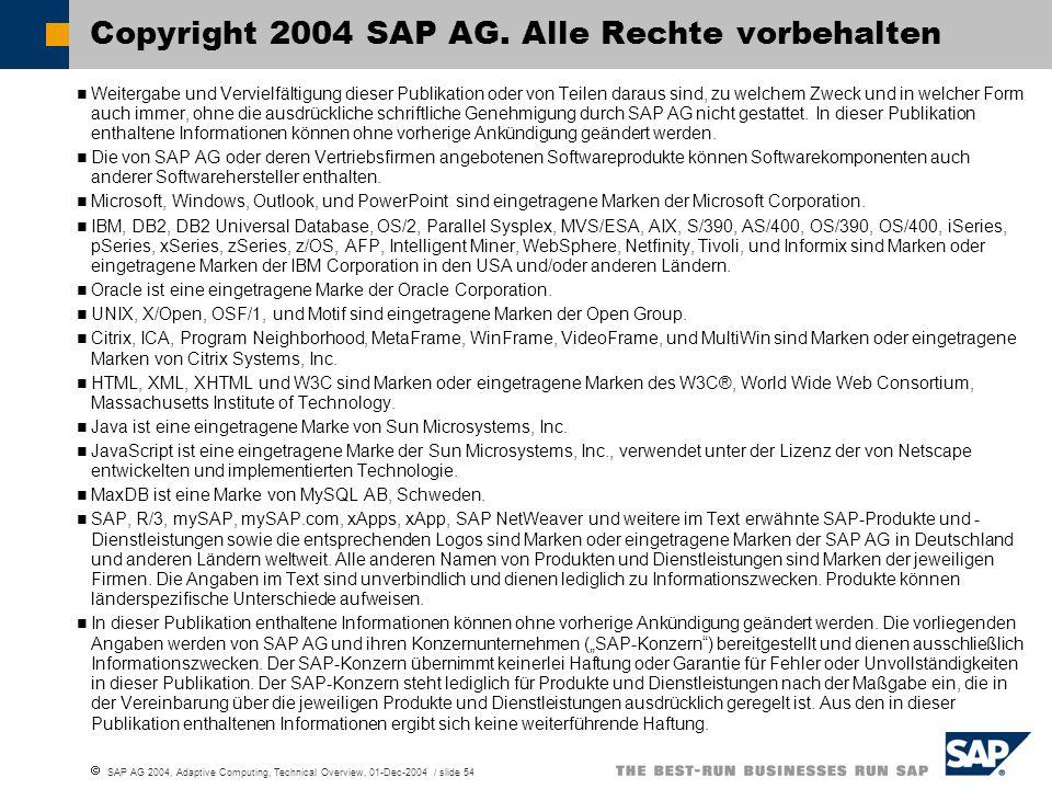 SAP AG 2004, Adaptive Computing, Technical Overview, 01-Dec-2004 / slide 54 Weitergabe und Vervielfältigung dieser Publikation oder von Teilen daraus