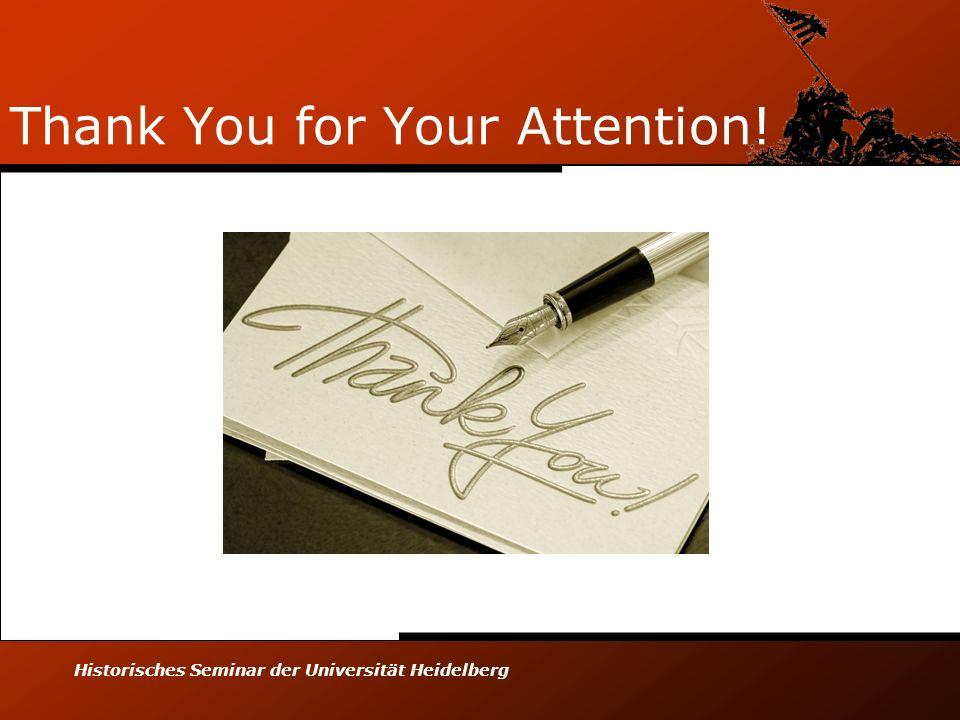 Historisches Seminar der Universität Heidelberg Thank You for Your Attention!