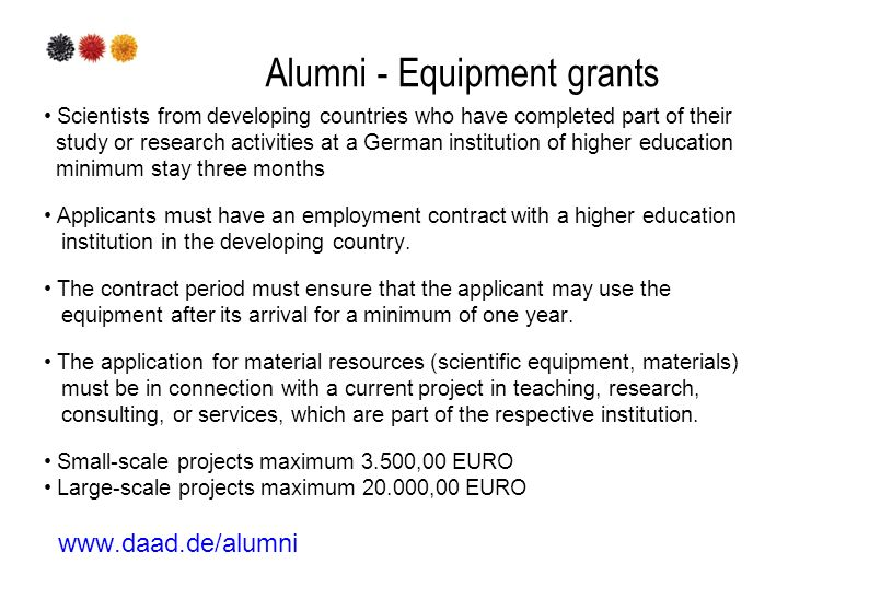 Alumni - Equipment grants Scientists from developing countries who have completed part of their study or research activities at a German institution o