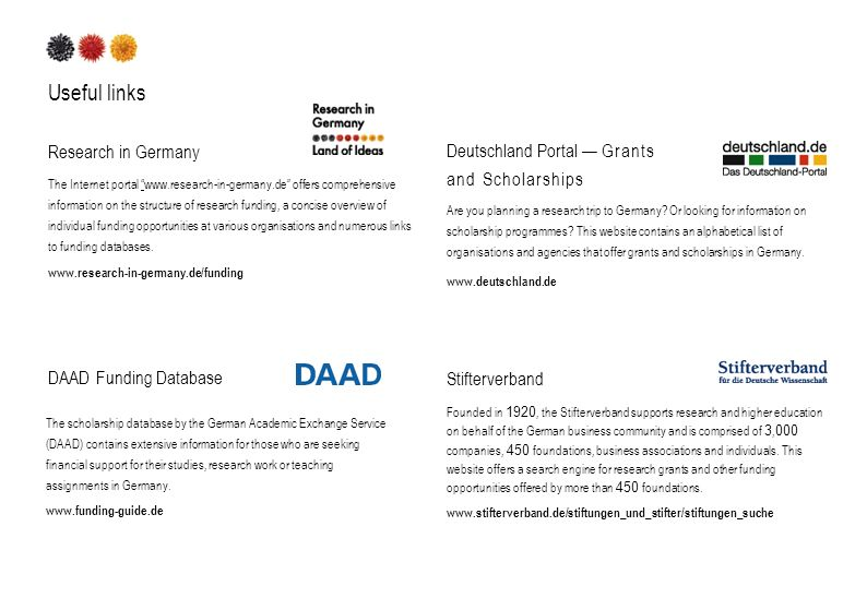 Useful links Research in Germany The Internet portal www.research-in-germany.de offers comprehensive information on the structure of research funding, a concise overview of individual funding opportunities at various organisations and numerous links to funding databases.