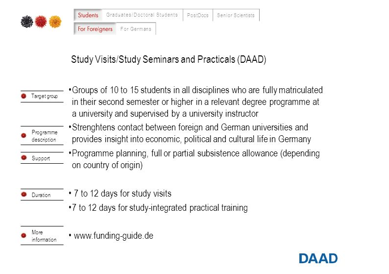 Study Visits/Study Seminars and Practicals (DAAD) Graduates/Doctoral Students PostDocsSenior Scientists For Germans 8 Groups of 10 to 15 students in a
