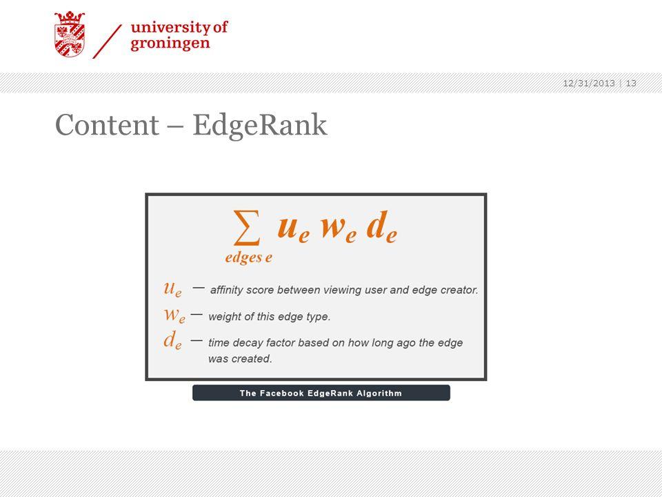 Content – EdgeRank 12/31/2013 | 13