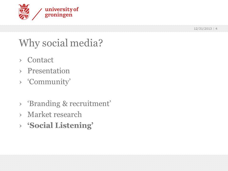 Why social media? Contact Presentation Community Branding & recruitment Market research Social Listening 12/31/2013 | 4