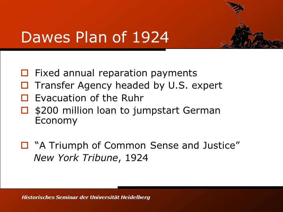 Historisches Seminar der Universität Heidelberg Dawes Plan of 1924 Fixed annual reparation payments Transfer Agency headed by U.S. expert Evacuation o