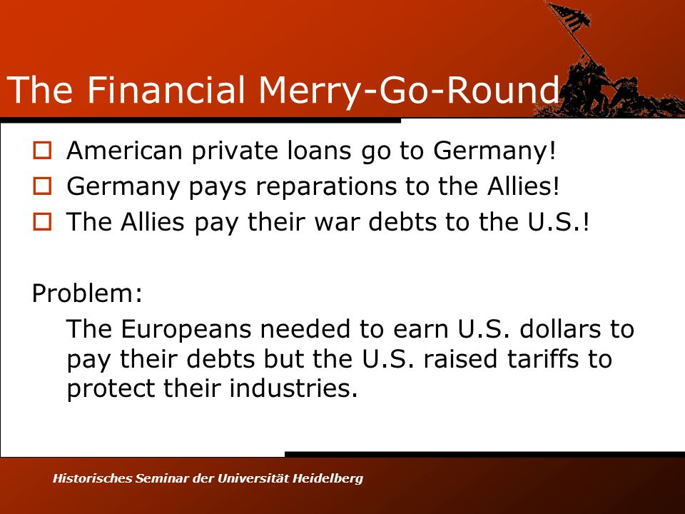 Historisches Seminar der Universität Heidelberg The Financial Merry-Go-Round American private loans go to Germany! Germany pays reparations to the All