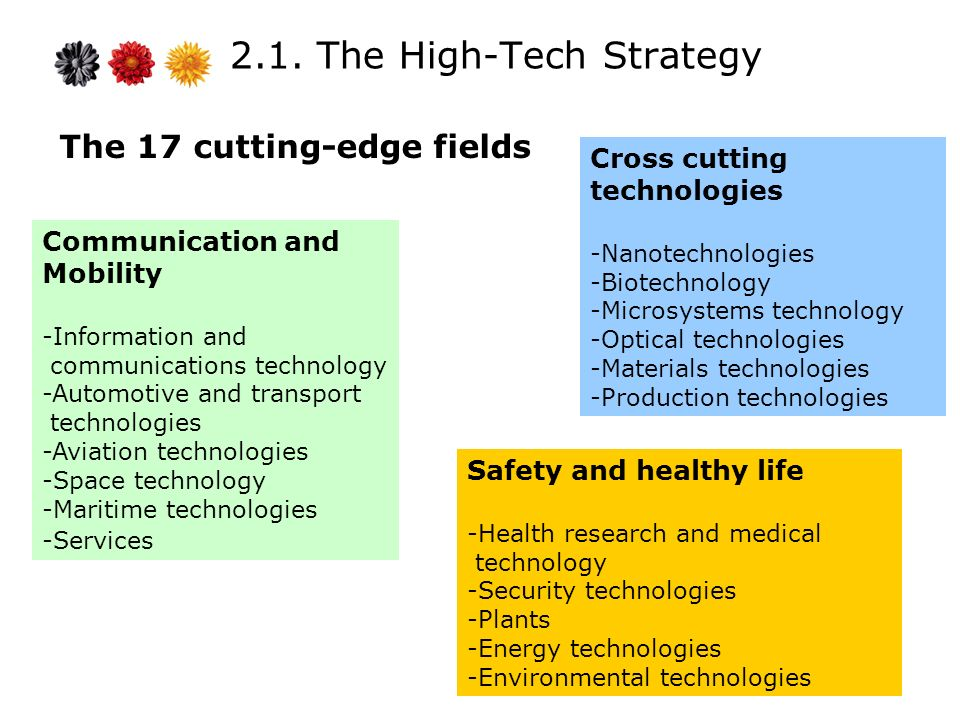 2.1. The High-Tech Strategy The 17 cutting-edge fields Communication and Mobility -Information and communications technology -Automotive and transport