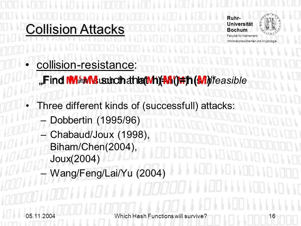 Ruhr- Universität Bochum Fakultät für Mathematik Informationssicherheit und Kryptologie 05.11.2004Which Hash Functions will survive?16 collision-resis