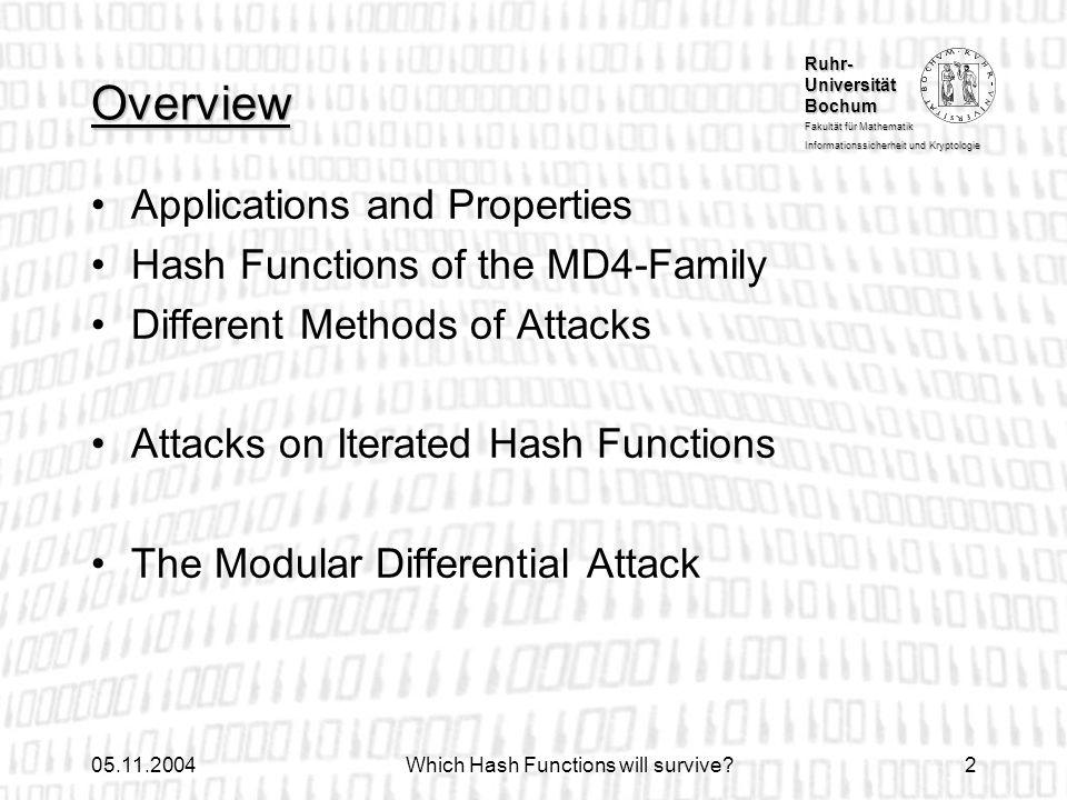 Ruhr- Universität Bochum Fakultät für Mathematik Informationssicherheit und Kryptologie 05.11.2004Which Hash Functions will survive?2 Overview Applica