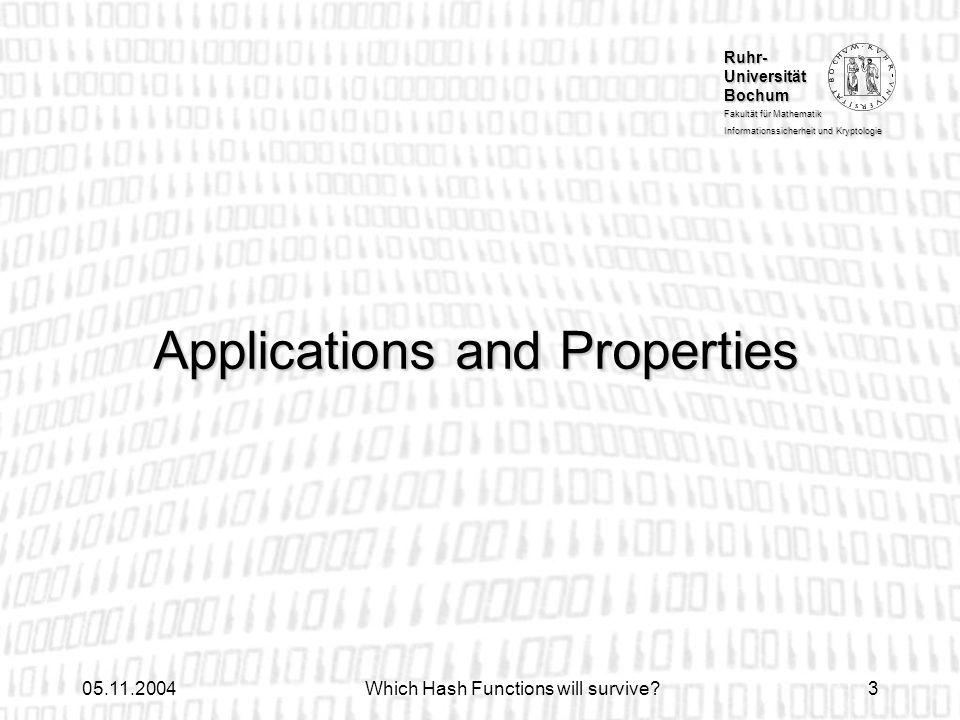 Ruhr- Universität Bochum Fakultät für Mathematik Informationssicherheit und Kryptologie 05.11.2004Which Hash Functions will survive?3 Applications and