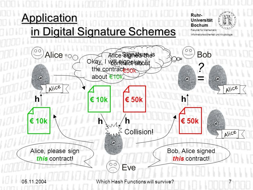 Ruhr- Universität Bochum Fakultät für Mathematik Informationssicherheit und Kryptologie 05.11.2004Which Hash Functions will survive?7 Application in D