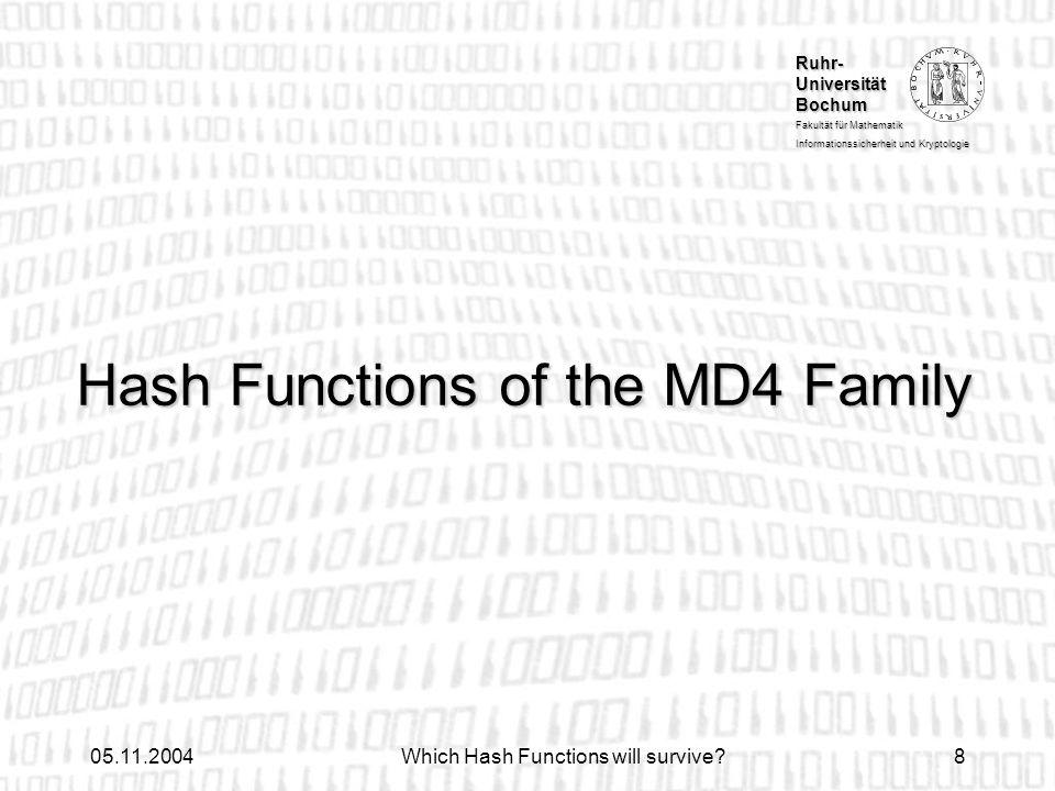 Ruhr- Universität Bochum Fakultät für Mathematik Informationssicherheit und Kryptologie 05.11.2004Which Hash Functions will survive?8 Hash Functions o