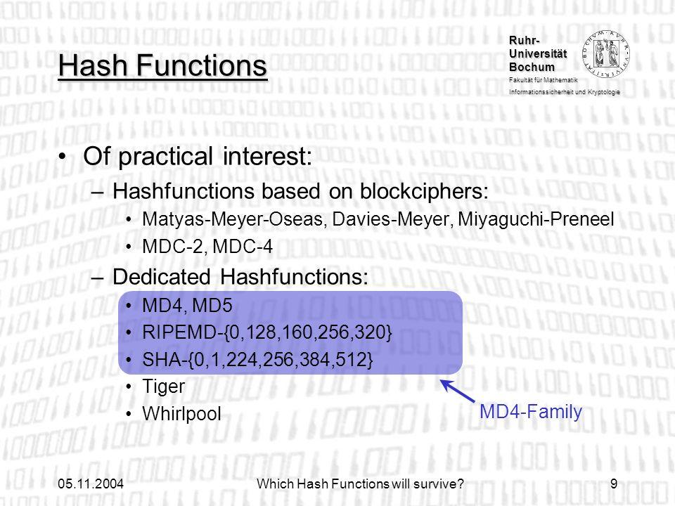 Ruhr- Universität Bochum Fakultät für Mathematik Informationssicherheit und Kryptologie 05.11.2004Which Hash Functions will survive?9 Hash Functions M