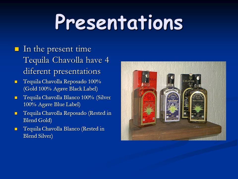 Presentations In the present time Tequila Chavolla have 4 diferent presentations In the present time Tequila Chavolla have 4 diferent presentations Te