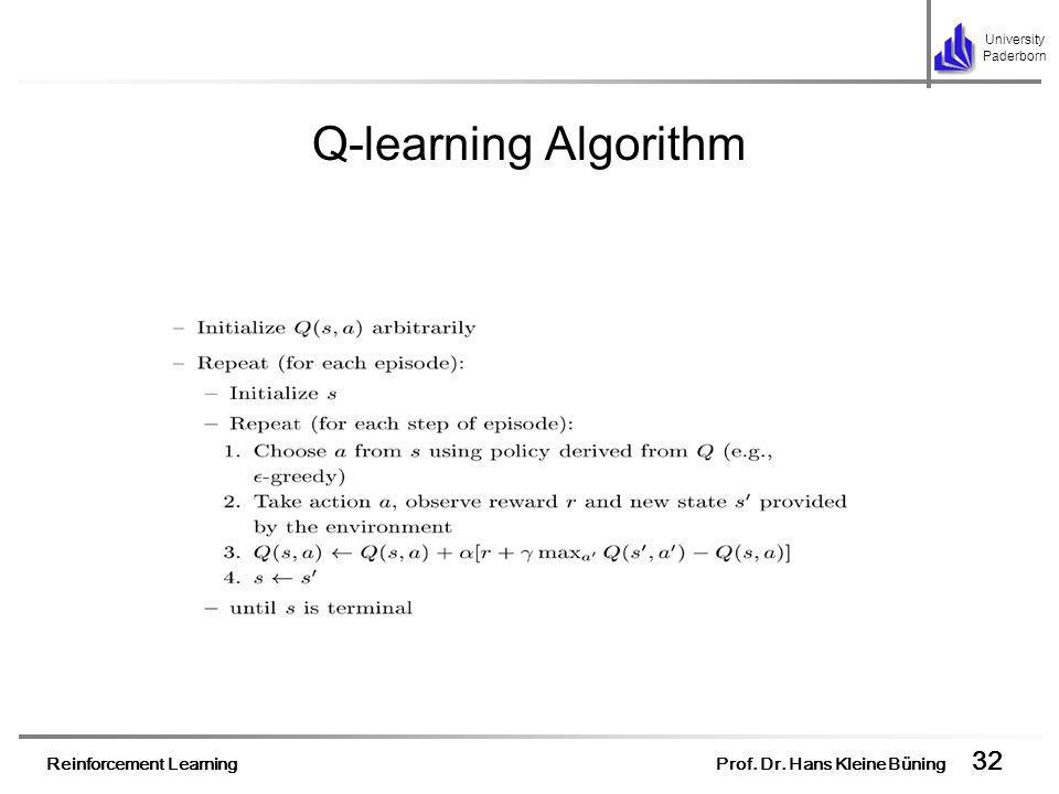 Reinforcement Learning Prof. Dr. Hans Kleine Büning 32 University Paderborn Q-learning Algorithm