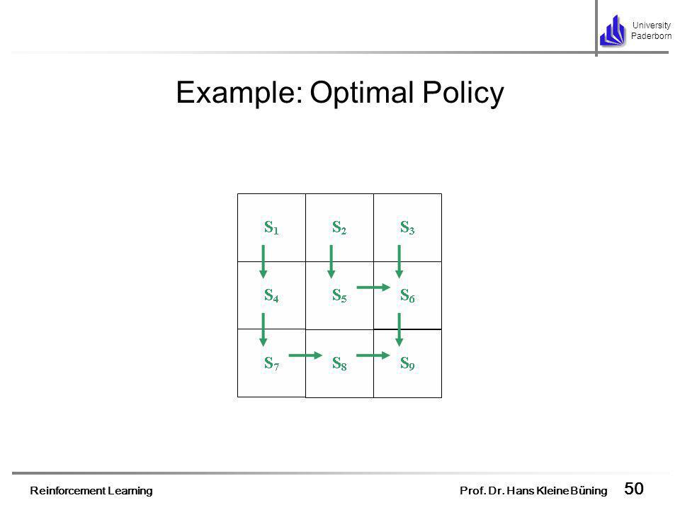 Reinforcement Learning Prof. Dr. Hans Kleine Büning 50 University Paderborn Example: Optimal Policy