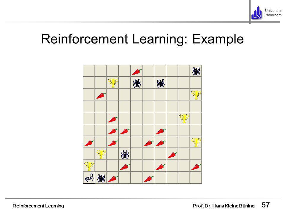 Reinforcement Learning Prof. Dr. Hans Kleine Büning 57 University Paderborn Reinforcement Learning: Example