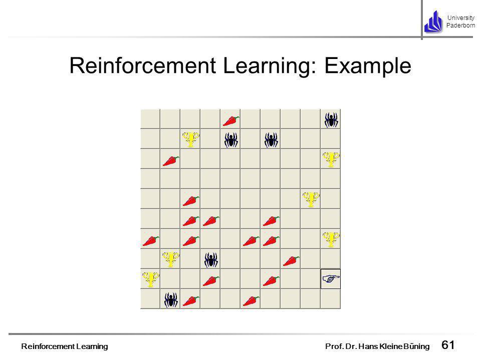 Reinforcement Learning Prof. Dr. Hans Kleine Büning 61 University Paderborn Reinforcement Learning: Example