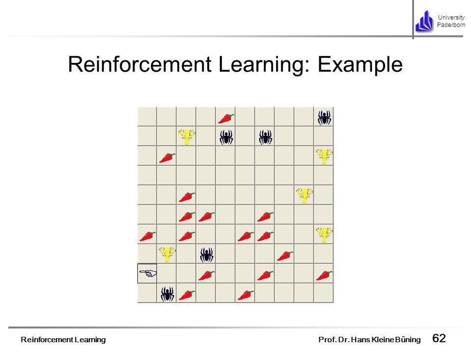 Reinforcement Learning Prof. Dr. Hans Kleine Büning 62 University Paderborn Reinforcement Learning: Example