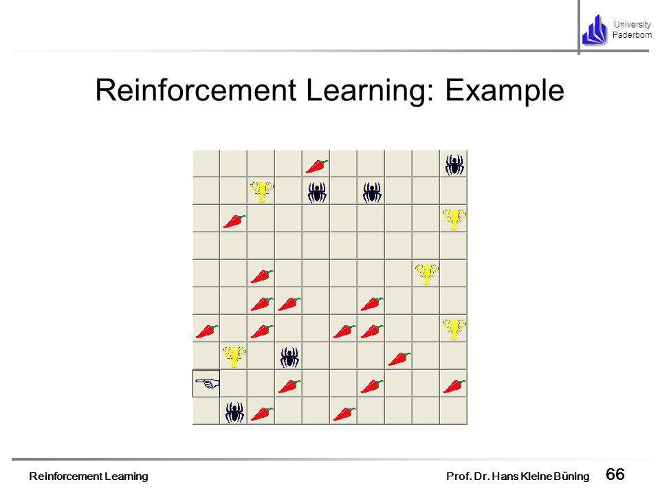 Reinforcement Learning Prof. Dr. Hans Kleine Büning 66 University Paderborn Reinforcement Learning: Example