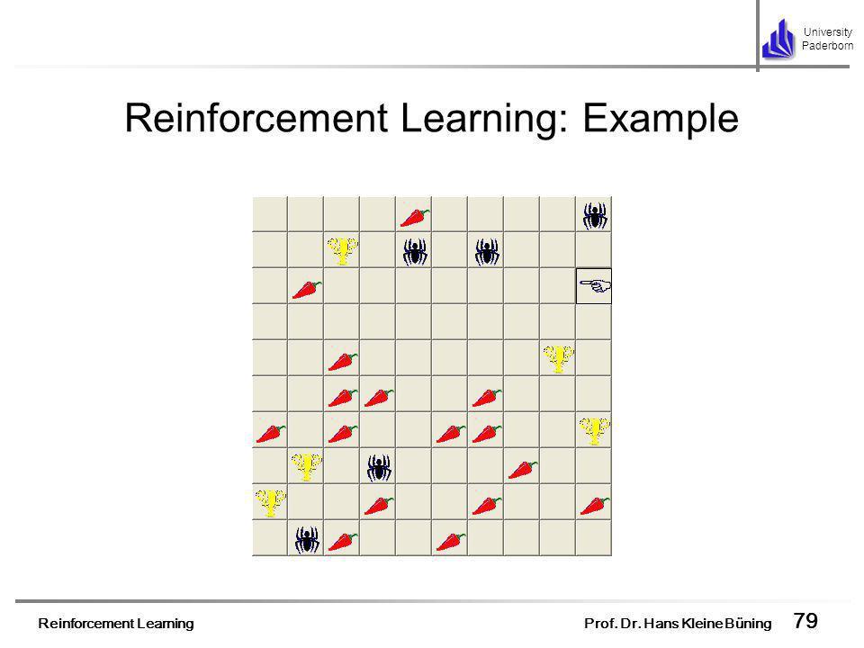 Reinforcement Learning Prof. Dr. Hans Kleine Büning 79 University Paderborn Reinforcement Learning: Example
