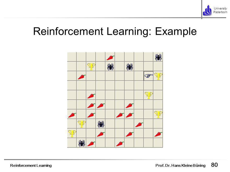 Reinforcement Learning Prof. Dr. Hans Kleine Büning 80 University Paderborn Reinforcement Learning: Example