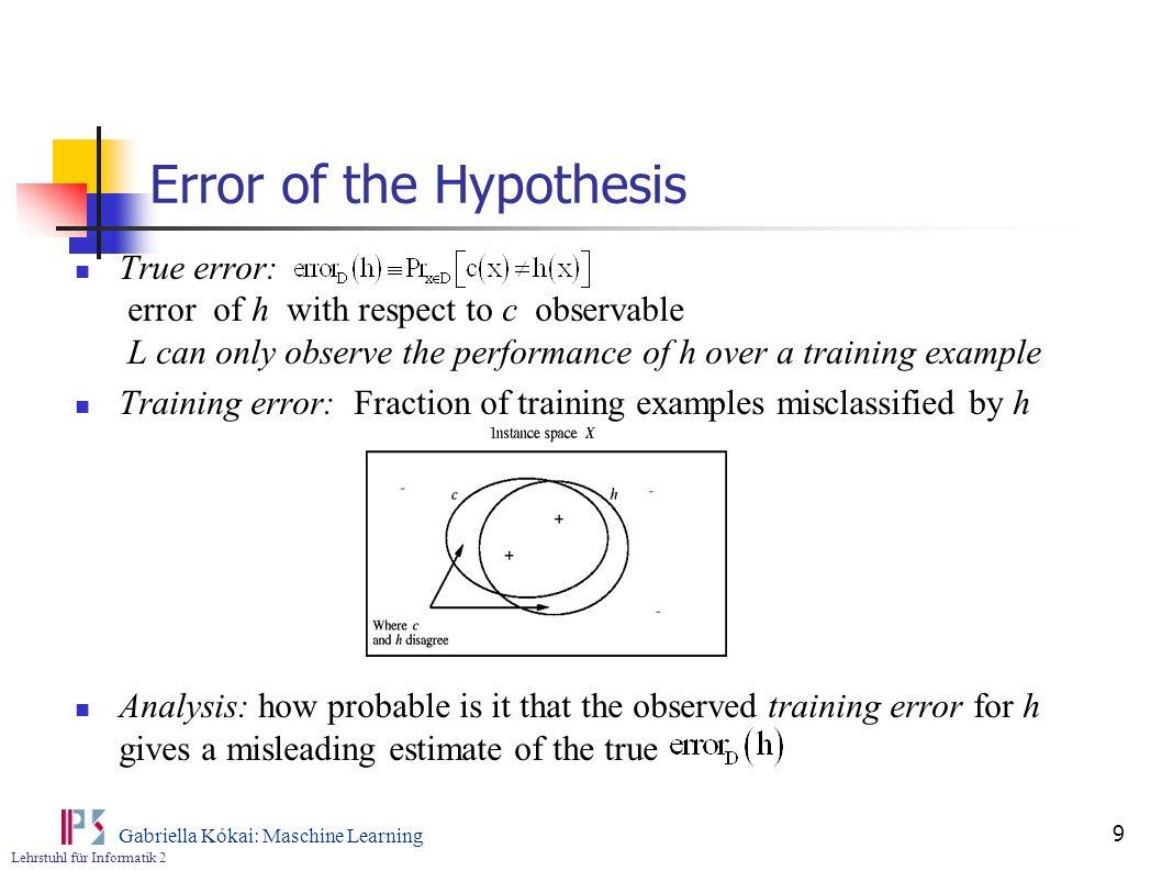 Lehrstuhl für Informatik 2 Gabriella Kókai: Maschine Learning 9 Error of the Hypothesis True error: error of h with respect to c observable L can only