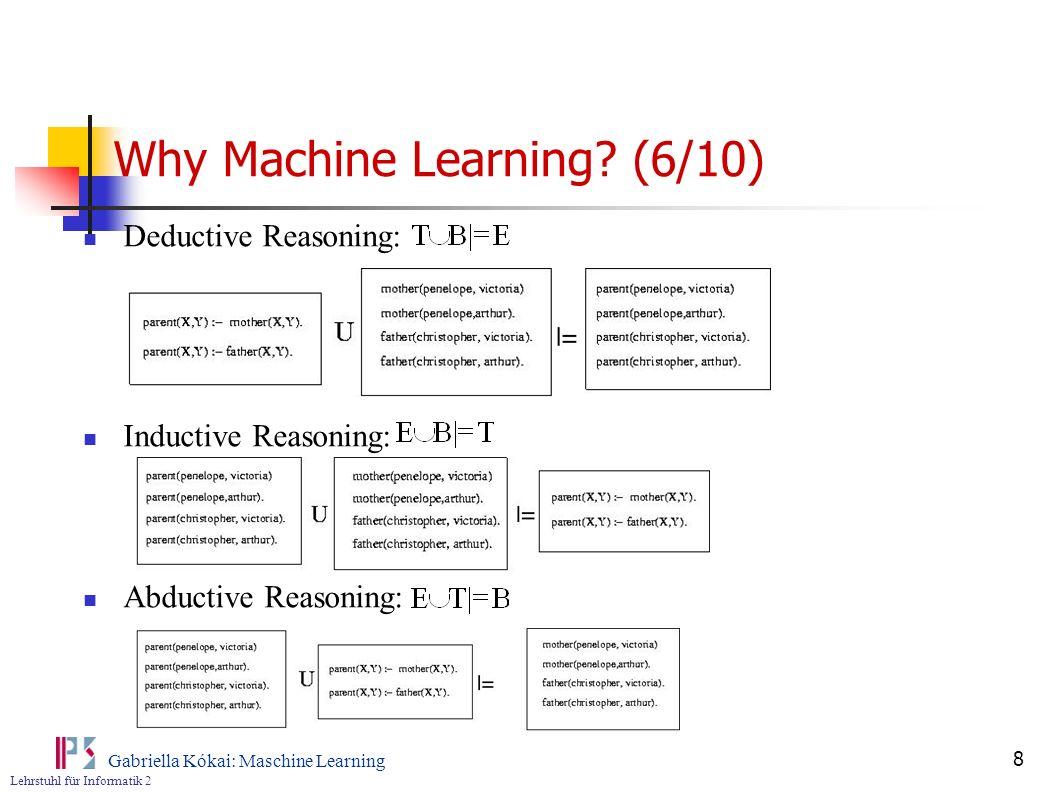Lehrstuhl für Informatik 2 Gabriella Kókai: Maschine Learning 9 Why Machine Learning.