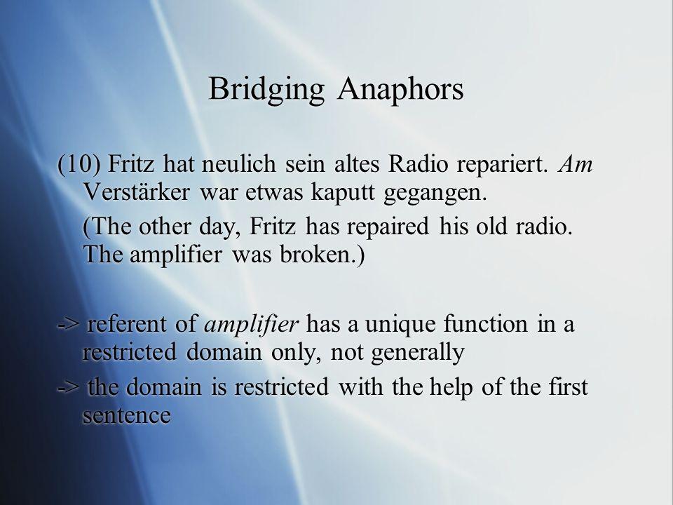 Bridging Anaphors (10) Fritz hat neulich sein altes Radio repariert.