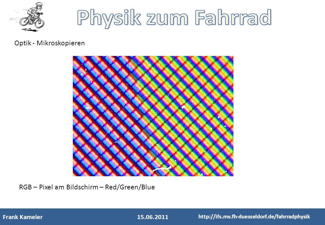 Frank Kameier15.06.2011 http://ifs.mv.fh-duesseldorf.de/fahrradphysik Optik - Mikroskopieren RGB – Pixel am Bildschirm – Red/Green/Blue