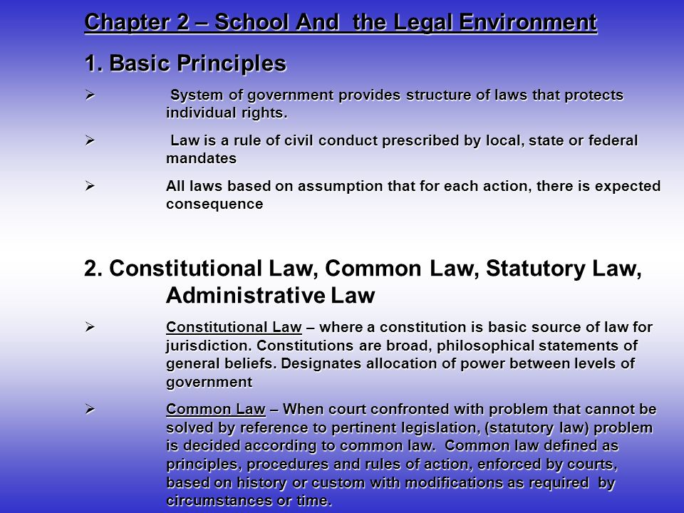 Chapter 2 – School And the Legal Environment 2.