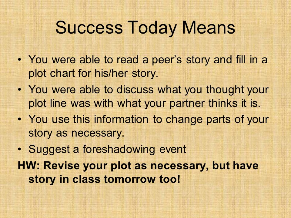 Success Today Means You were able to read a peers story and fill in a plot chart for his/her story. You were able to discuss what you thought your plo