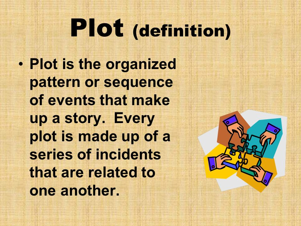 Plot (definition) Plot is the organized pattern or sequence of events that make up a story. Every plot is made up of a series of incidents that are re