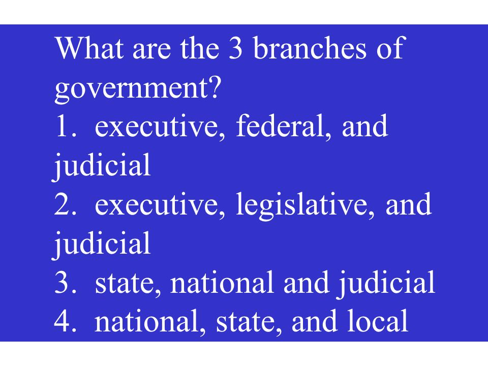 What are the 3 branches of government? 1. executive, federal, and judicial 2. executive, legislative, and judicial 3. state, national and judicial 4.