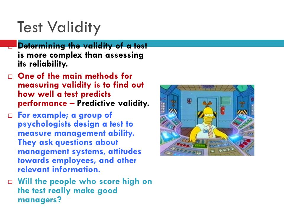 a description of the validity of assessment and reliability of assessment Ch 4 - validity, reliability, and assessment bias no description by sara floyd on 9 june 2014 tweet comments (0) please log in to add your comment report abuse.