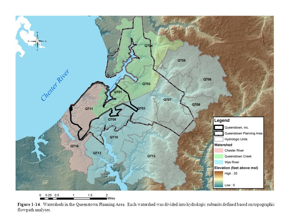 Figure 1-14. Watersheds in the Queenstown Planning Area. Each watershed was divided into hydrologic subunits defined based on topographic flowpath ana