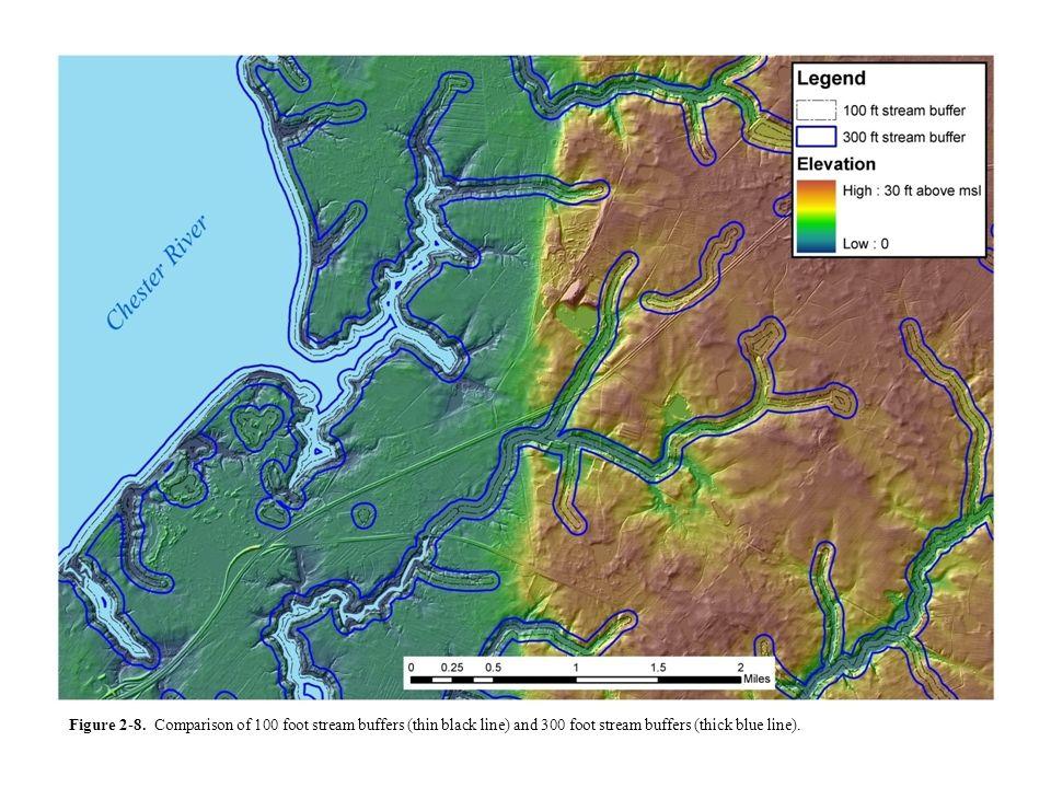 Figure 2-8. Comparison of 100 foot stream buffers (thin black line) and 300 foot stream buffers (thick blue line).